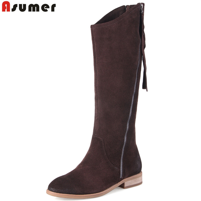 ASUMER full leather 2018 new knee high boots round toe zip suede leather boots low heels Retro autumn winter boots women asumer 2018 fashion autumn winter boots zip round toe suede leather knee high boots women thick high heels boots ladies shoes