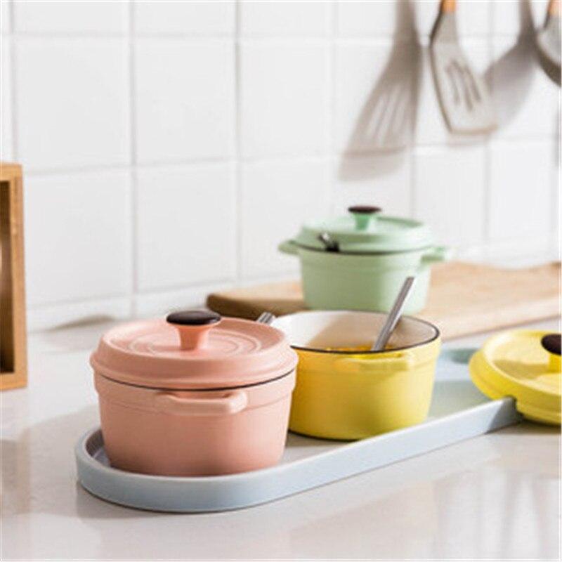 KINGLANG pot à épices set cuisine ménage en céramique assaisonnement pot japonais assaisonnement boîte de rangement sel réservoir combinaison