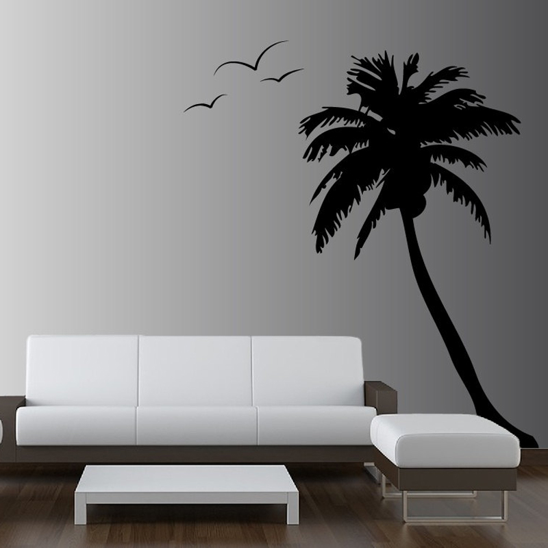 84inch Huge Palm Coconut Tree Wall Decal Seagull Birds Vinyl Stickers For  Living Room Bedroom Wall Art Muursticker Mural A 59 In Wall Stickers From  Home ...