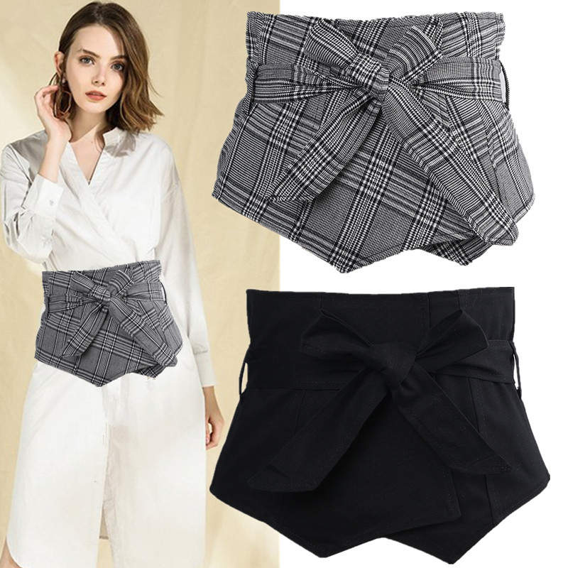 Women's Runway Fashion Vintage Plaid Cummerbunds Female Dress Coat Corsets Waistband Belts Decoration Wide Belt R1216