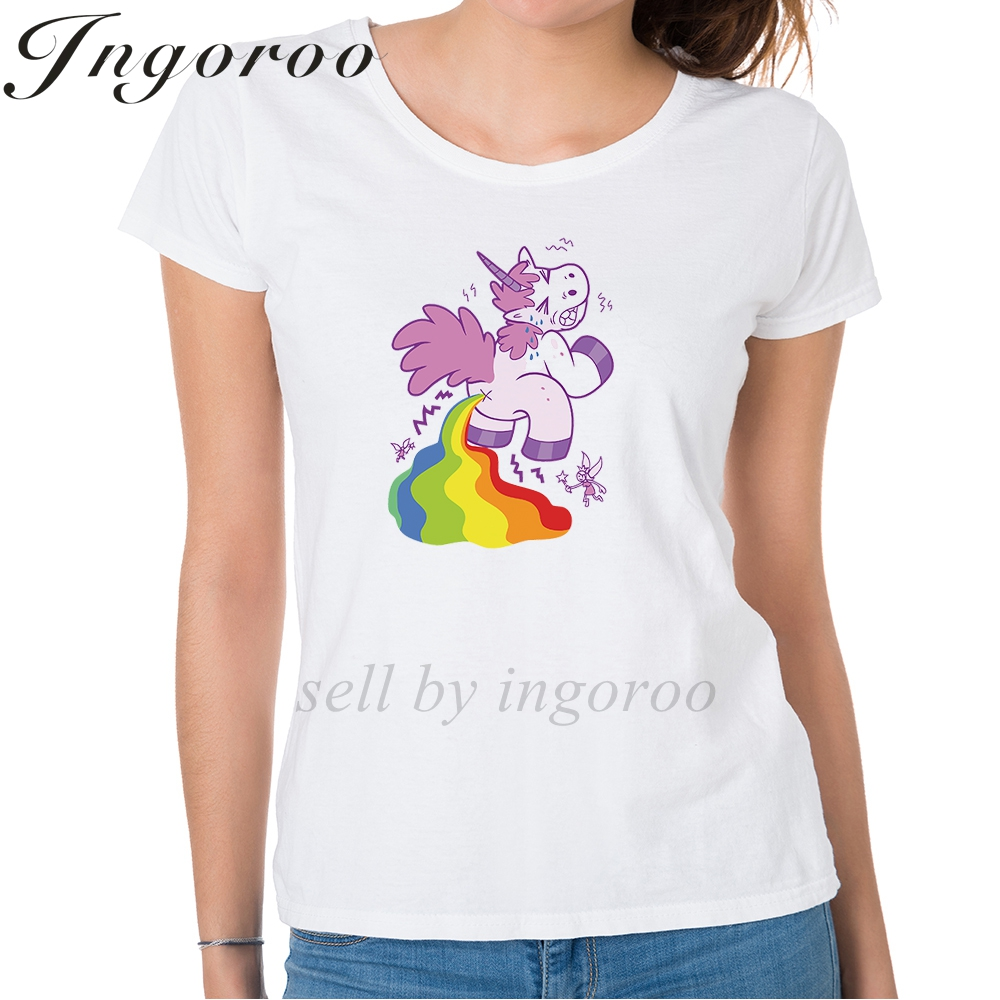 Dutiful Babaseal Designer Funny Shirt Tumblr Fashion Tops Harajuku Hipster Print T Shirts Cartoon Rainbow Pooping Unicorn T Shirt Tops & Tees Women's Clothing