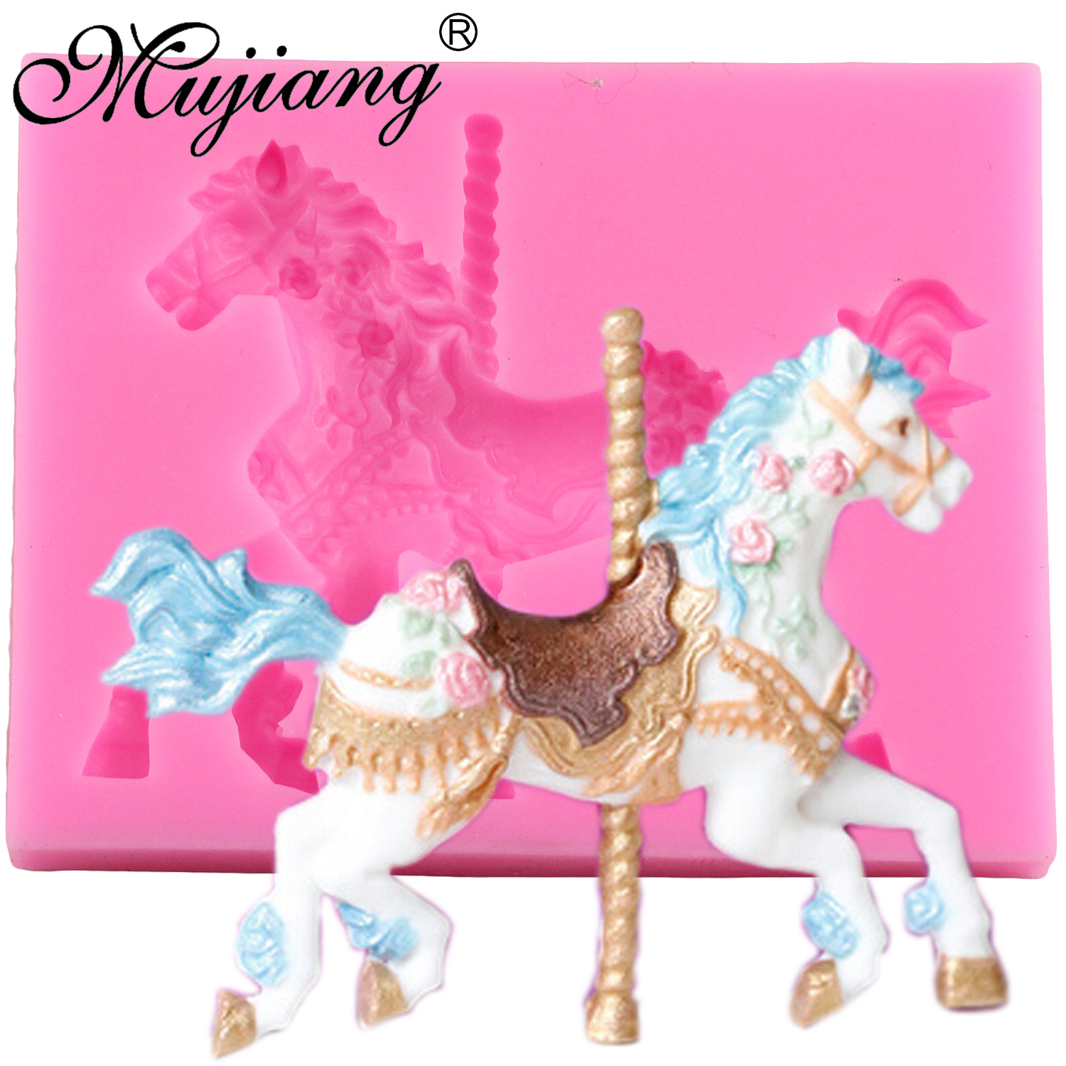Mujiang 3D Jewelry Carousel Horse Silicone Fondant Moulds Party Cake - Խոհանոց, ճաշարան եւ բար
