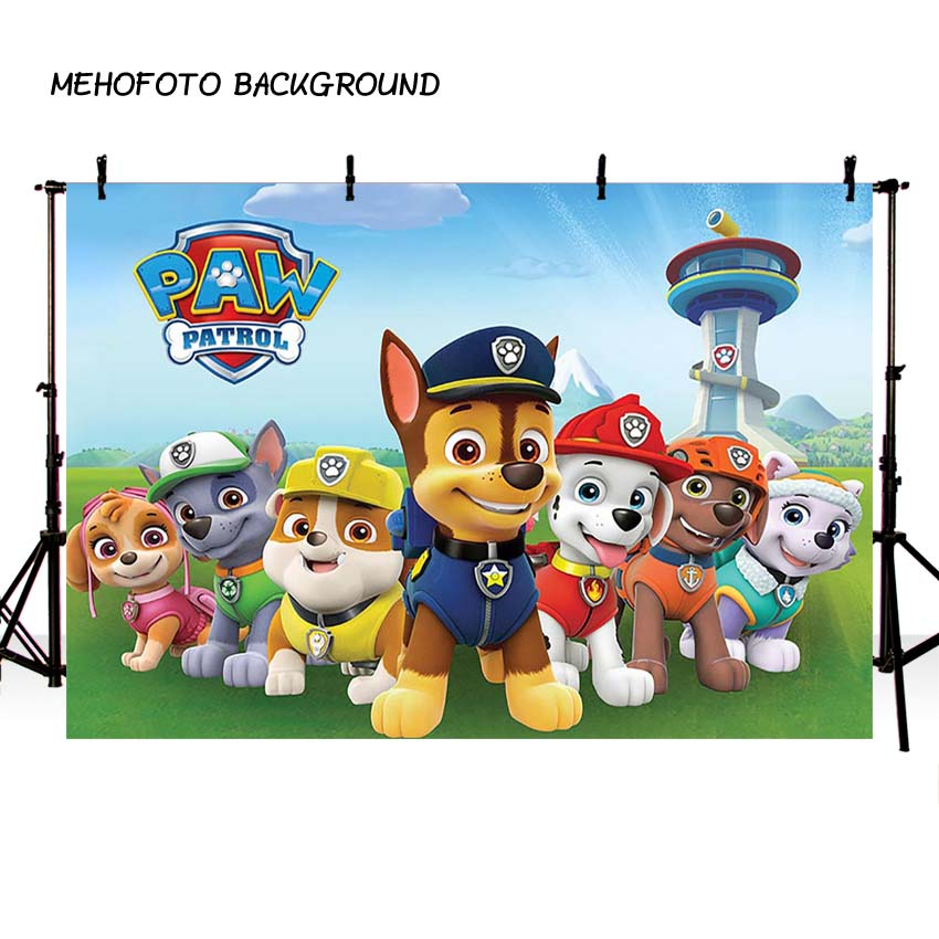 Cartoon Dogs paw patrol birthday Photo Background Children Baby Party Photography Backdrops for Photo Studio free shipping customize home decoration photography backdrop studio background cartoon baby kid party birthday photo background g 073