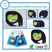 3PK/lot DYMO Letratag бумажной ленты 12 мм черный на белом LT LT 91200 для dymo принтера БЕСПЛАТНАЯ ДОСТАВКА