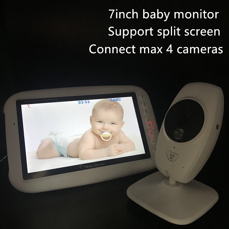 "Image 4 - 720P HD 7"" Wireless Baby Monitor With Two Digital Camera IR Night Vision Intercom Nanny Video Baby Monitor Supports Screen Split-in Baby Monitors from Security & Protection"