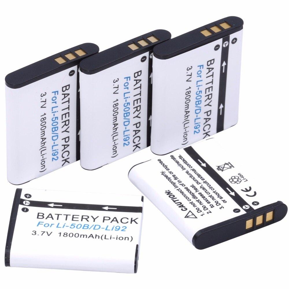 5 unids probty LI-50B Li 50B D-Li92 batería para Olympus XZ-1 SZ-30MR SZ-10 SZ-11 SZ-20 SP800UZ resistente TG-810 1030 TG-610 SZ10 TG810