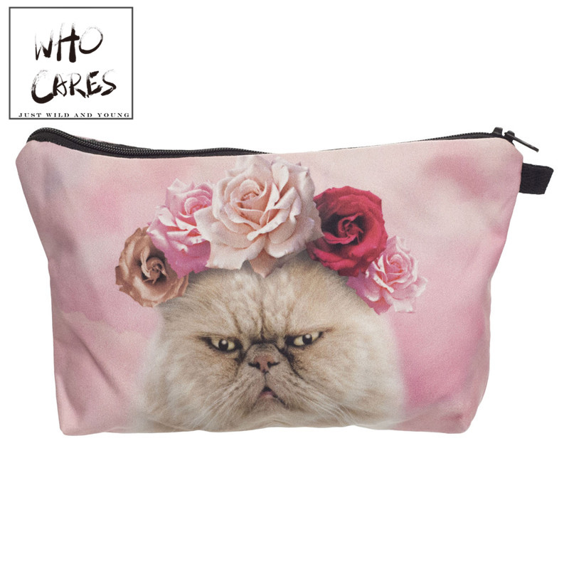 Pink roses cat 3D Printing cosmetic bag bolsa neceser maquillaje 2018 Fashion women makeup bag kosmetik bag estuche maquillaje unicorn 3d printing fashion makeup bag maleta de maquiagem cosmetic bag necessaire bags organizer party neceser maquillaje