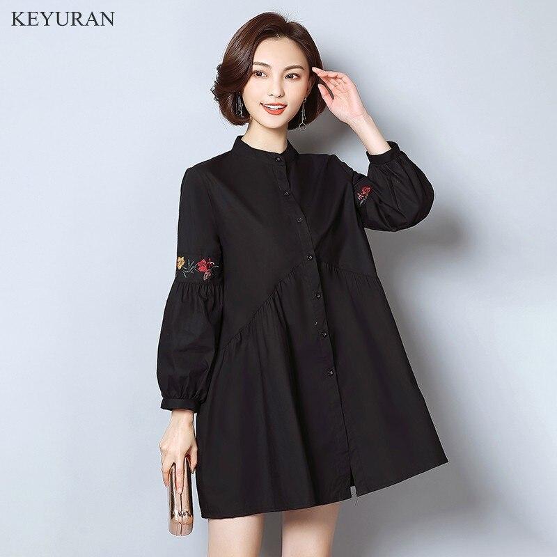 font b Vestido b font Vintage Spring New Floral Embroidery Shirt Women Long Sleeve Loose
