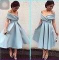 Elegante Vestido de Cóctel de 2016 Fuera Del Hombro de Los Plisados Prom Vestidos Del Partido Corto Vestidos Vestido De Festa Curto