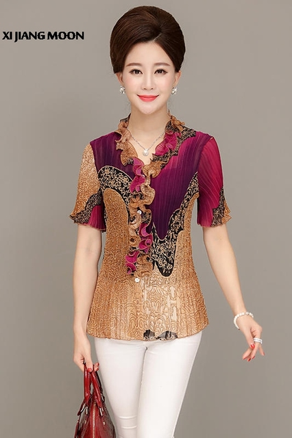 Middelbare leeftijd Vrouwen Nieuwe Zomer Top Chiffon Blouse Shirt Korte Mouw Vouw Printv-Hals Plus Size Losse Mode Blouse Vrouwen r205