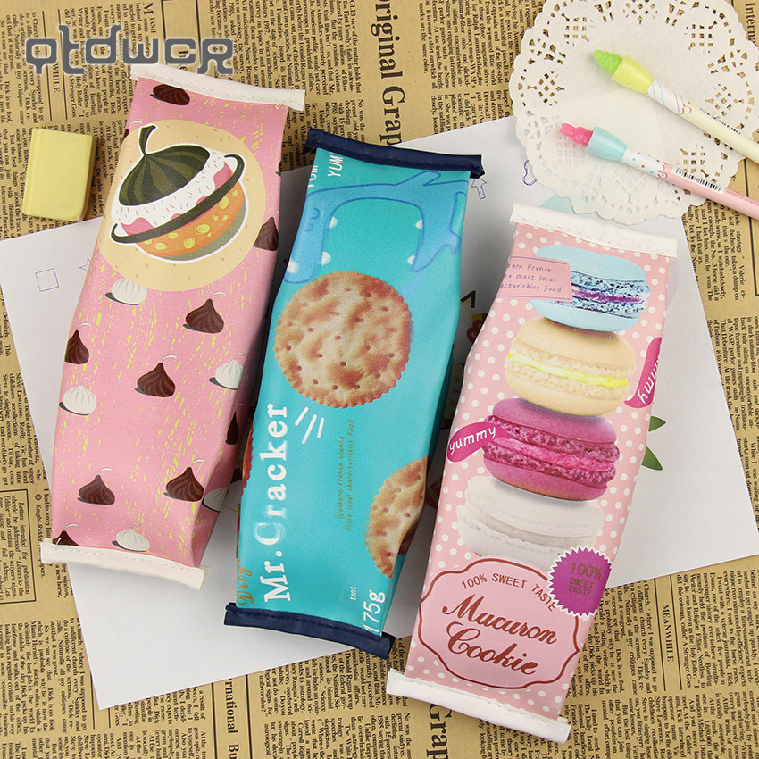 1PC Kawaii Creative Macaron School Pencil Case For Girls Chocolate Cracker PU Leather Pencil Bag Kids Gift School Supplies