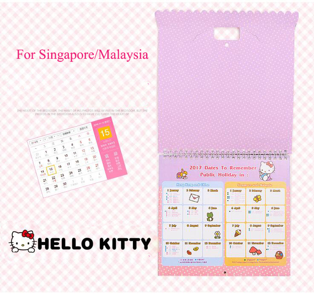 For Singapore Malaysia Kid 2017 New Year Paper Calendar Gift With
