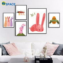 7-Space Nursery Wall Art Posters And Prints Nordic Watercolor Cute Rabbits Canvas Painting For Kids Room Pictures Decor