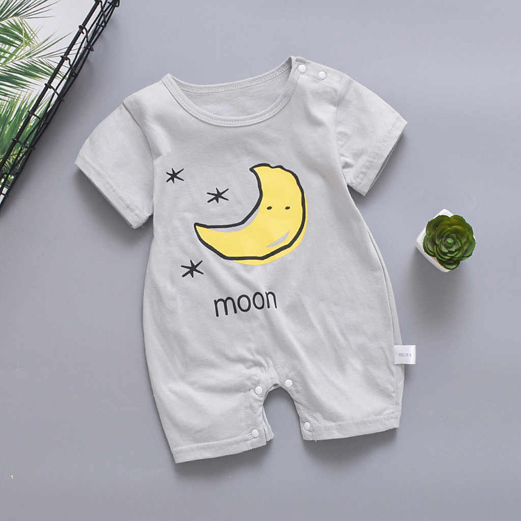 MUQGEW Newborn baby boy clothes Girl Short Sleeve Jumpsuit Sun Cloud Moon Print Rompers pasgeboren baby kleding#y2