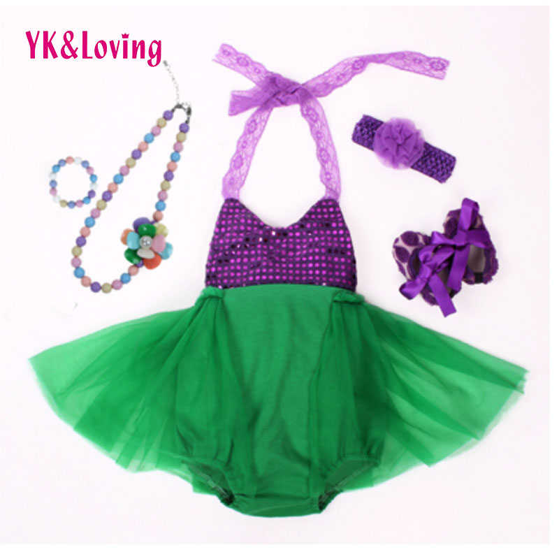 Mermaid Ariel Baby Tutu Dress Princess Girls Sling Lace Sequins fancy green Birthday Photo Prop Halloween Costume 5PC