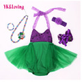 Mermaid Ariel Baby Tutu Dress Princess Girls Sling Lace Sequins fancy green Dress 5Pcs Birthday Photo Prop Halloween Costume 5PC