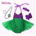Sereia ariel bebê tutu dress princesa meninas sling lace lantejoulas fancy dress 5 pcs verde aniversário prop foto traje de halloween 5 pc