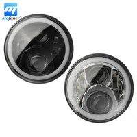 1 Pair 7 Inch Round RGB LED Headlight Bluetooth Halo DRL Hi Lo Beam For Jeep