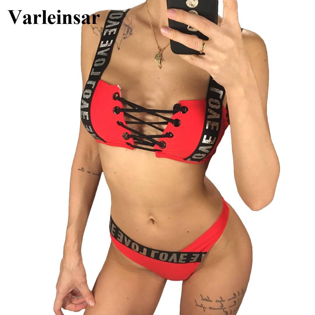 LiebenswüRdig 2019 Brief Gedruckt Brazilian Bikini Frauen Bademode Weiblichen Badeanzug Zwei-stück Bikini Set Spitze Up Badende Badeanzug Schwimmen V1074 Zu Den Ersten äHnlichen Produkten ZäHlen Bikini-set