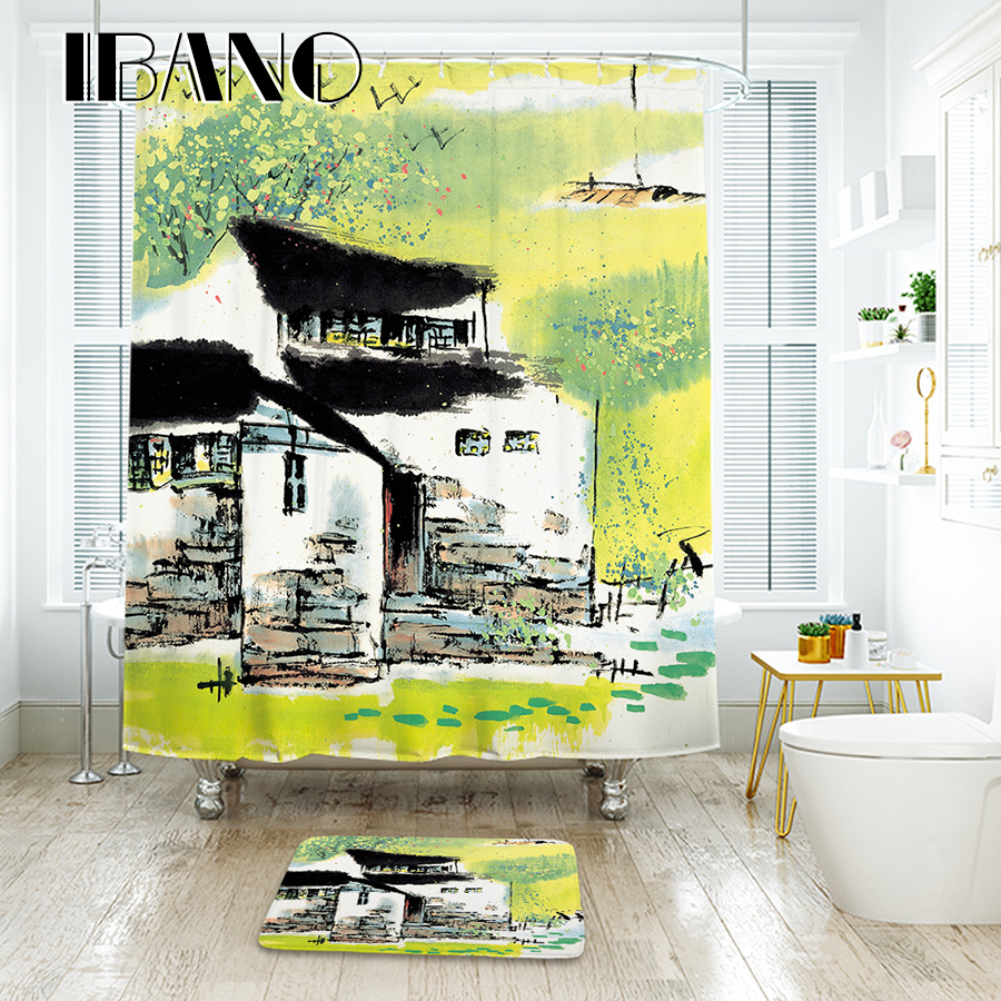 Chinese Painting Shower Curtain Waterproof Polyester Fabric 180x180cm Shower Curtain And 40x60cm Bath Floor Rug For The Bathroom