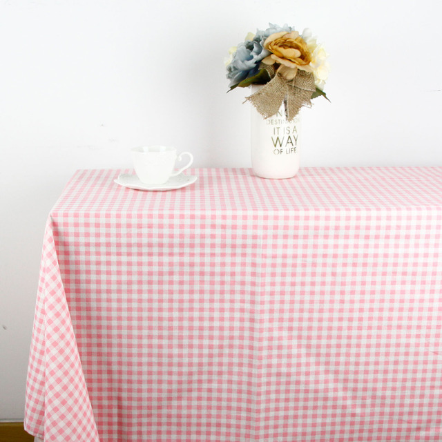 140cm X 1 Meter Pink Plaid Print Patchwork Cotton Linen Fabric Cloth Table  Cloth Curtain DIY