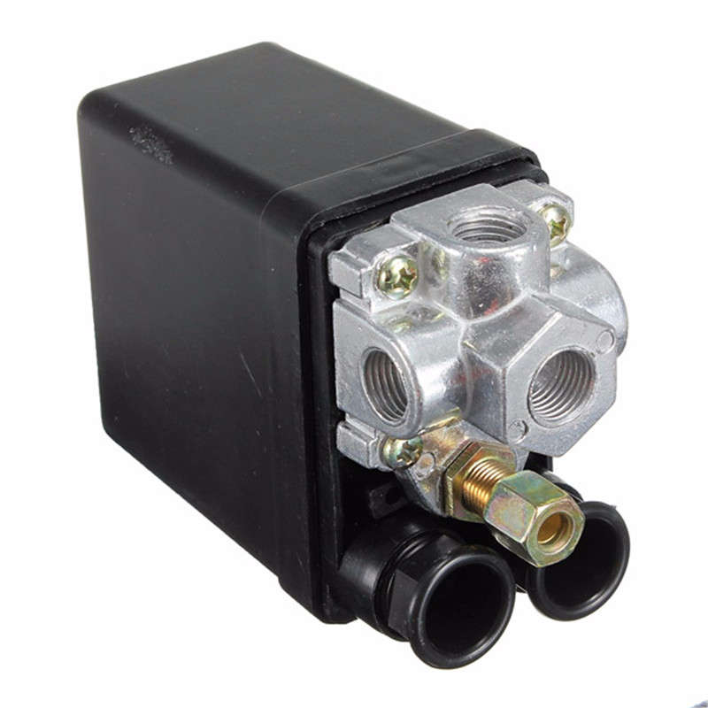 90-120PSI Heavy Duty Air Compressor Pressure Control Switch Valve 12 Bar 20A AC 220V 4 Port 12.5 x 8 x 5cm High Quality heavy air compressor pressure switch control valve 90 psi 120 psi convenient heavy duty 240v 16a auto control load unload
