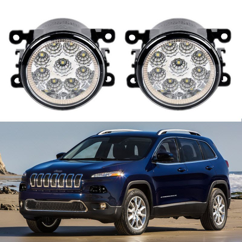 Car Styling For Jeep Cherokee KL 2014 2015 2016 9-Pieces Leds Chips LED Fog Light Lamp H11 H8 12V 55W Halogen Head Fog Lights fog light set 12v 55w car fog lights lamp for toyota hiace 2014 on clear lens wiring kit free shipping