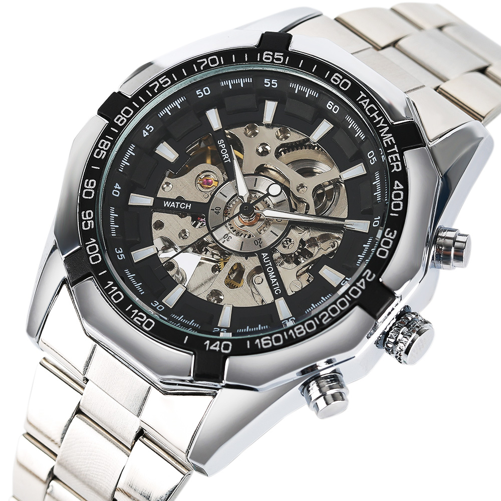Luxury Mens Watch Automatic Mechanical Skeleton Full Stainless Steel Band Wrist Watch Men relojes hombre 2017 Best Gift  wholesale wilon mens stainless steel mechanical skeleton watch