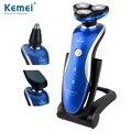 KM-1150 моющийся Перезаряжаемые 360 Градусов Поворотный 3in1 электробритвы плавающей 3D бритья человек уход за кожей лица нос триммер уха волос