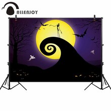 Allenjoy Halloween backdrop Jake night moon ghost bat party background photo studio photocall shoot props photobooth photocall allenjoy photographic backgrounds halloween hall magic wizard moon night sky backdrop photo shoot prop photobooth photophone