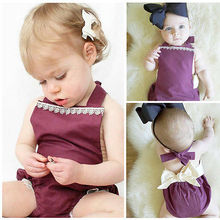 Infant Baby GirlS Lace Solid Romper Outfits Sunsuit One-pieces Clothes 2016 NEW Fashion