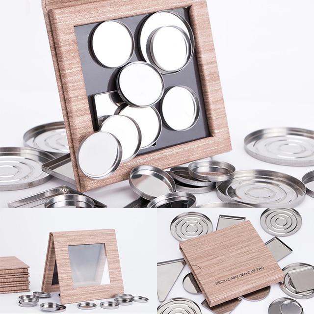 Dos tamaño reciclable maquillaje de cosméticos DIY de almacenamiento de herramienta de grano de madera vacía magnético paleta de sombra de ojos
