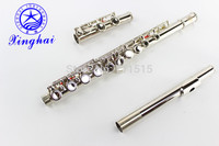 Chinese16 holes closed plus the E key metal flute musical instrument nickel plated pan flute piccolo flute wood