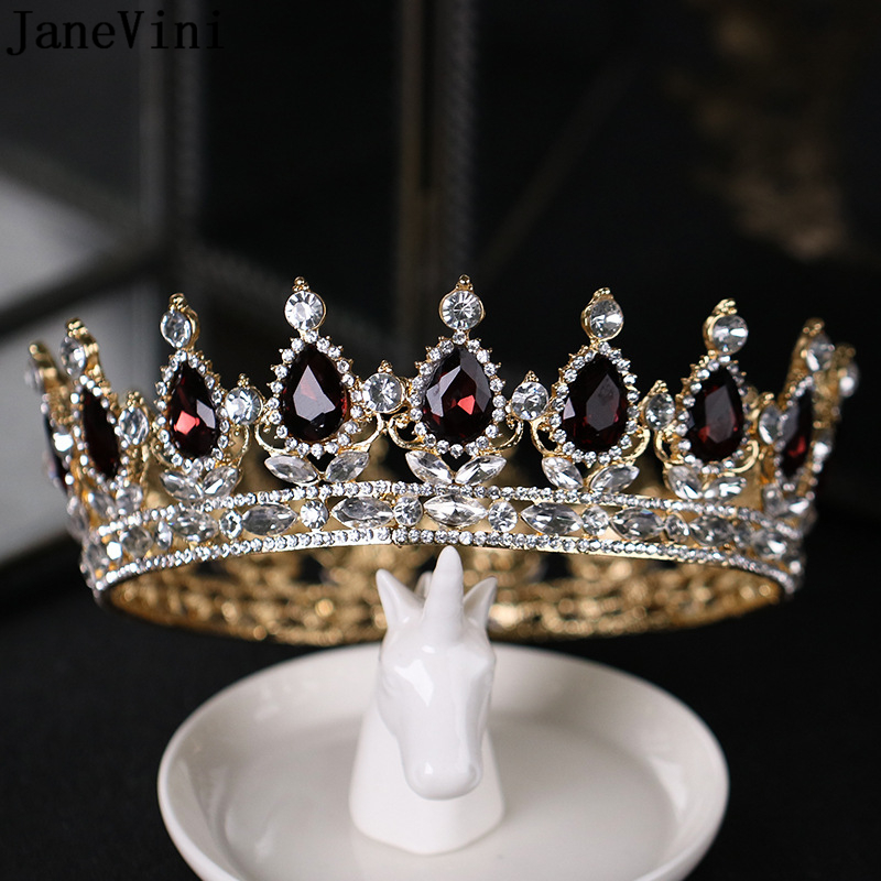 JaneVini 2018 Luxurious Burgundy Full Round Wedding Tiara Crowns Princess Pageant Headpieces Bridal Rhinestone Hair Accessories