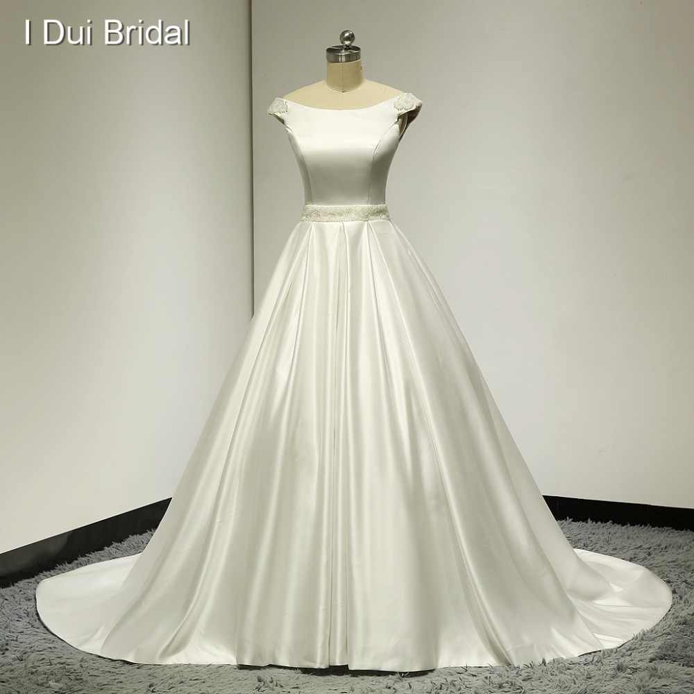 Real Photo Wedding Dresses Ball Gown Satin Pearl Beaded Waist and Shoulder Keyhole Back High Quality Factory Custom Make ELS004