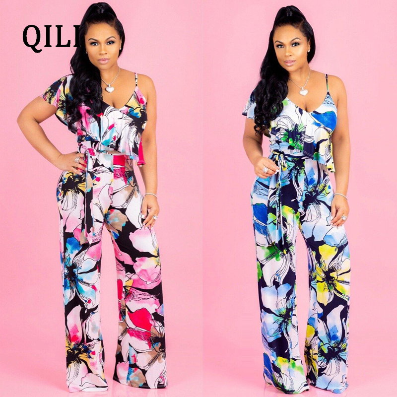 QILI Boho Floral Print Strap Ruffle Jumpsuit Women Sexy High Waist Belted Wide Leg Loose Jumpsuits 2018 Summer Beach Playsuit in Jumpsuits from Women 39 s Clothing