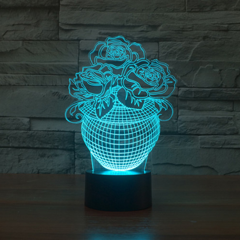 Acrylic 7 Color Changing Rose Flower 3D LED nightlight of bedroom lamp livingroom lights ...