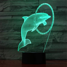 Dolphin LED Lamp Colorful children's night light 3D Table lamp Kids Birthday Gift USB Sleep Lighting Home Decoration 7 Colors цена