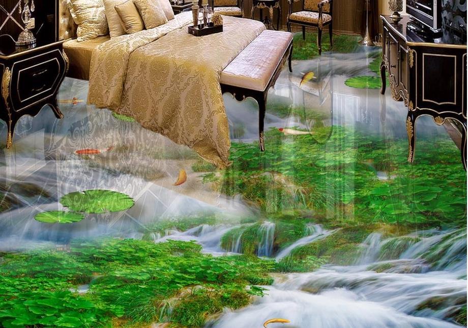 ФОТО 3d flooring custom luxury 3d wallpaper Waterfall stone lotus carp 3d floor murals wallpaper kitchen 3d bathroom tile floor
