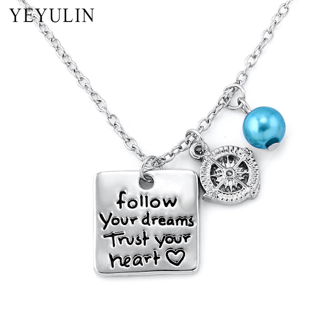 Engraved follow your dream trust your heart square pendant necklace engraved follow your dream trust your heart square pendant necklace with compass charm inspiring necklace jewelry aloadofball Choice Image