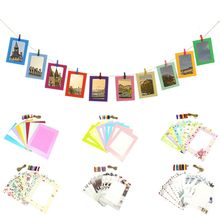 DIY Hanging Paper Photo Frame Wall Decor Display with Mini Clothespins and String(China)
