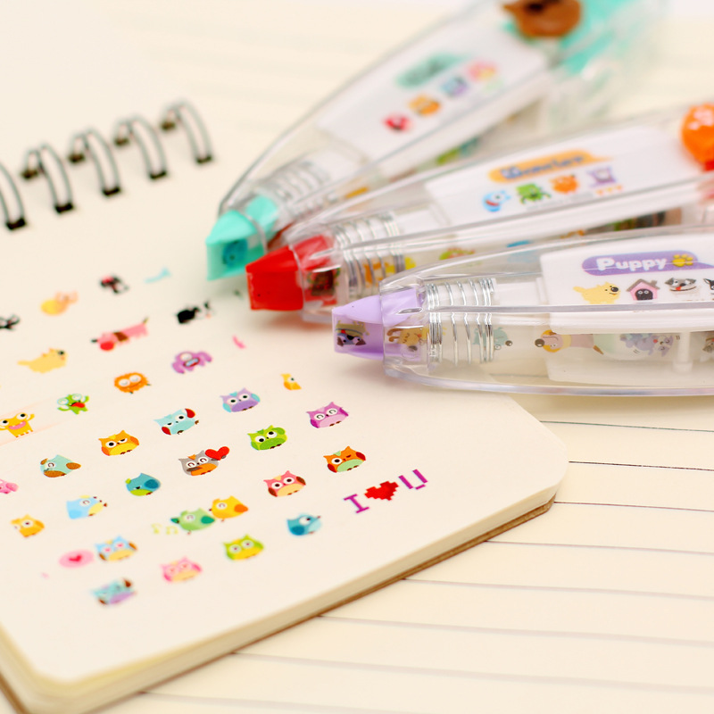 Tapes Cute Cartoon Diary Letter Decorative Stickers for School Stationery Owl Correction Tape Sticker