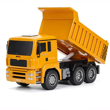 Huina 332 1:18 6wd Rc dump truck electric remote control truck engineering car children's toy remote control toy Rc car remote control tipper rc toy truck dumpers engineering vehicles metal multi function chargeable car gift for kids toy car