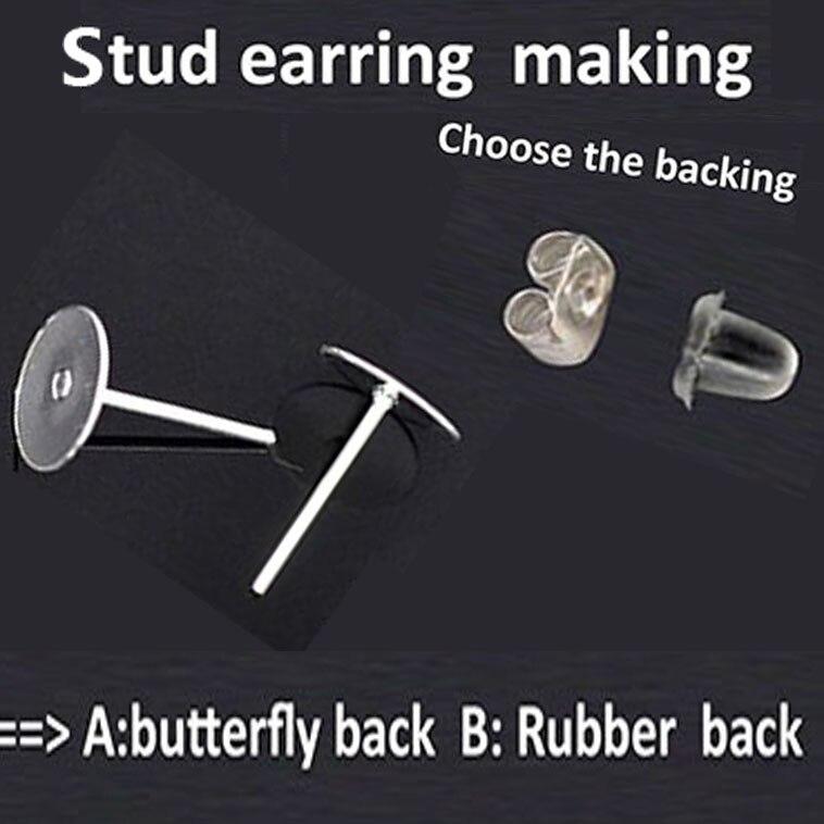 Titanium Nickel Free 10mm Flat-Pad Earring Posts and Backs findings 100pcs