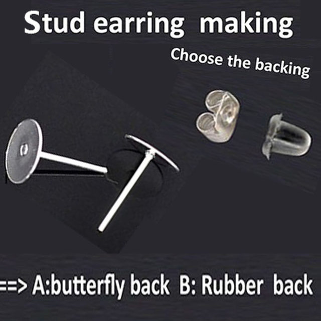 1000 Pieces Nickel Free Surgical Steel Stud Earnuts And 8mm Flat Pads Silver Earring Posts With Back Stoppers