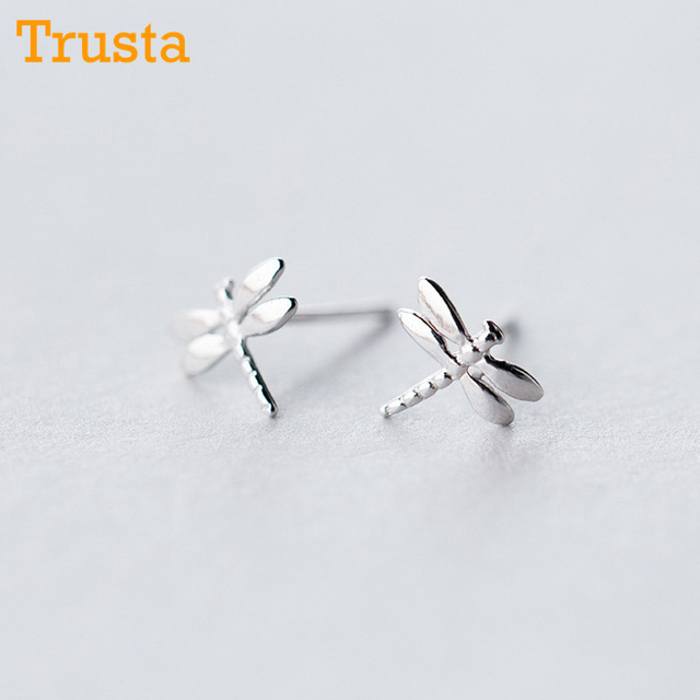 Trusta 2018 925 Sterling Silver Jewelry Women Fashion Cute Tiny 8mmx8mm Dragonfly Stud Earrings Gift For