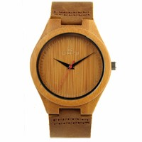 REDEAR Newest Bamboo Wooden Watch For Men Unique Lug Design Top Brand Luxury Quartz Leather Band