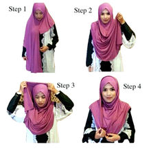 Instant Hijabs Muslim Shawl Wrap Semi Hijab Double Stretchy Head Coving Jersey Turban Islamic Product Women Head Scarf 3pcs/pack