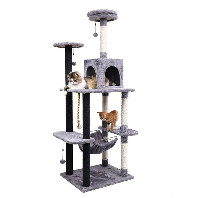 Europe Fast Delivery 175cm Big Cat Tree Tower Condo Cat Scratching Cozy Kitten Funny With Ladder Cat Climbing Toy For Pet House