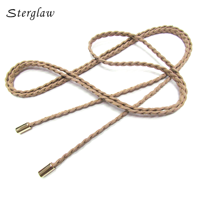 15color high quality woman dresses thin Weave   belt   female Simple leather braided   belt   Women's ceinture femme 160cm B210